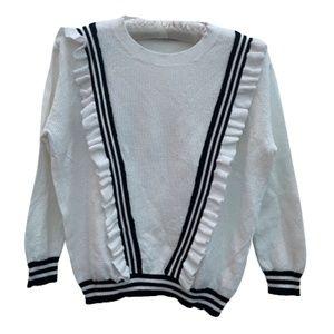 Parisian White Cotton Sweater - Black Ruffle Trim